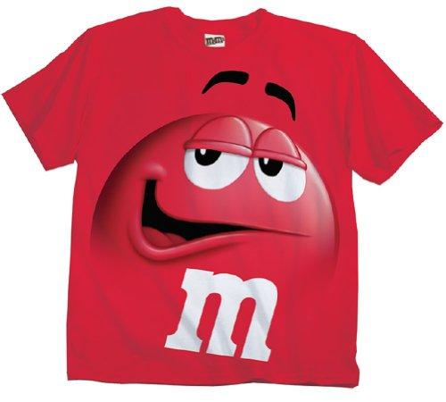 (M&M M&M's Candy Red Silly Character Face Adult T-Shirt (Adult X-Large))