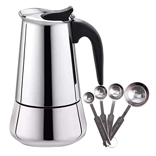 Espresso Maker Stovetop Stainless Steel Moka Pot Coffee Broad base- 9 Cup with Coffee Scoops Measuring ()