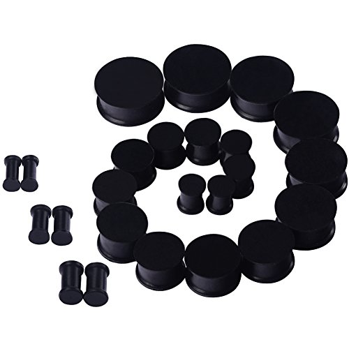 D&M Jewelry 24pcs 6G-15/16' Black Saddle Silicone Double Flared Ear Plugs Kit Ear Stretching Set (12 Pairs)