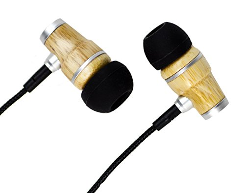 Söhne Geniune Wood Comfortable In Ear Noise-Isolating Dynamic Ear Bud Headphones With Microphone And Volume Adjuster