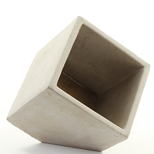 Koyal Wholesale Concrete Effect Slanted Cube Vase Planter for Concrete Wedding Centerpieces, Concrete Wedding Decorations, Cement Desk Accessories (1, 5-Inch)