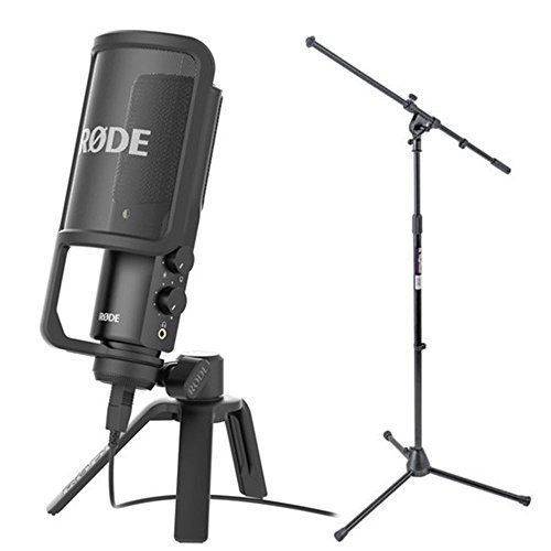 RODE NT-USB Condenser Microphone with Studio Boom Arm Tripod Mic Stand
