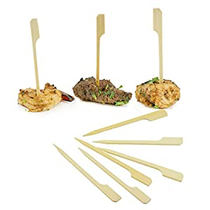Houseables Bamboo Skewers, Appetizer Picks, Paddle Sticks, Toothpicks, 2000 Pcs, 3.5 Inch, Flat, Mini, Natural, Extra Sharp, BBQ Skewers, For Food, Barbecue Grill, Party, Sandwich, Kabob, Cocktail