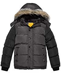 Wantdo Boy's Hooded Puffer Jacket Thick Winter Coat with Reflective Stripe