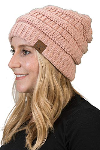 (Funky Junque H-6020a-71 Solid Ribbed Beanie - Indi Pink)