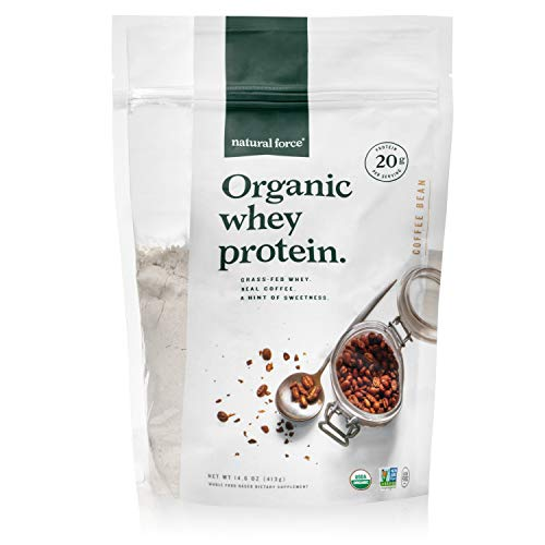 Natural Force® Organic Whey Protein Powder 14.6 oz. *Premium Coffee Flavor* A2 Grass Fed Whey Protein Concentrate - Ranked #1 Best Organic Whey - Certified Keto, Paleo Friendly, Non-GMO and Humane (Best Spin Mop In India)