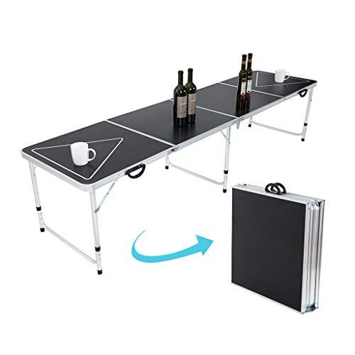 Portable Beer Pong Table,Outdoor Foldable Beer Table with Carrying Handles,8 Foot Adjustable Height Lightweight Pong Table for Party Drinking Games Picnics, Camping Trips, Buffets or Barbecues