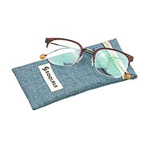 SOOLALA Clubmaster Semi-rimless Vintage Reading Glasses with Thin Metal Arms, Tea, +3.0