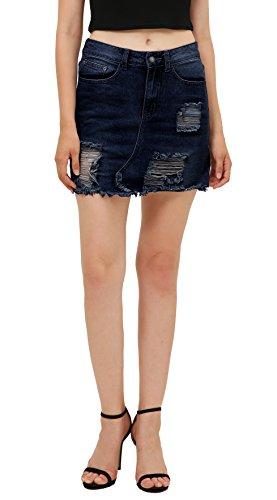 Urban CoCo Women's Ripped Denim Short Skirt Bodycon Jean Skirts (M, Dark Blue)