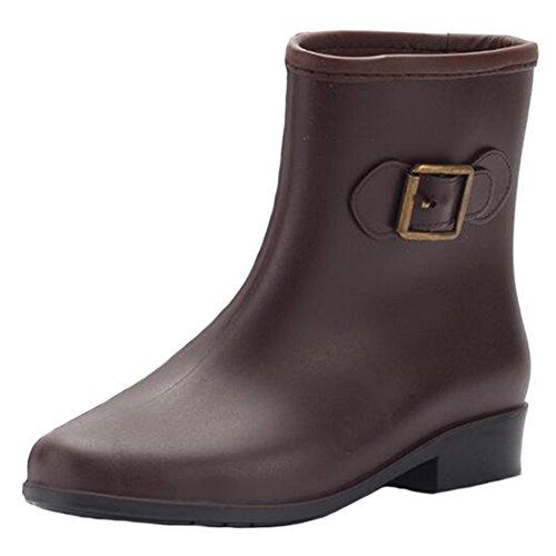 Mujeres botas de lluvia de las señoras bajo resbalón en Wellington Botas Botas de agua de goma marrón 36EU marrón