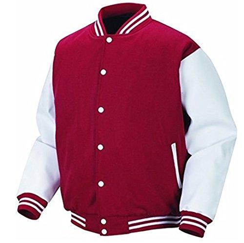 Original Windhound College Jacke kardinal rot mit weißen Echtleder Ärmel XL