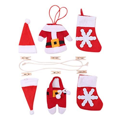 Christmas DIY Flag Christmas Pull flag Christmas Fireplace Decoration, Christmas Tree Decoration, 6Pcs/Set by TLT Retail (Image #1)