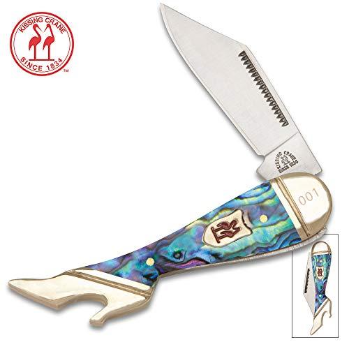 Kissing Crane Genuine Abalone Leg Knife Pocket Knife
