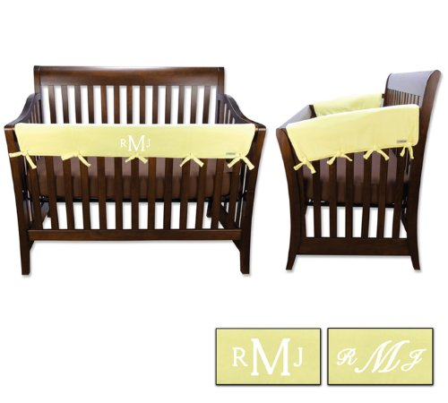 Personalized Embroidered Monogram or Name 3pc Trend Lab Crib Wrap Rail Guard Set Yellow
