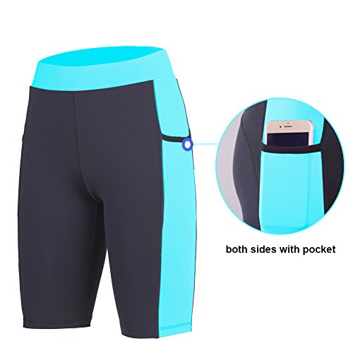 beroy Yoga Capri Short Legging Pants with Two Pockets,4CM High Waistband Running Workout pants for women,Women's Activewear