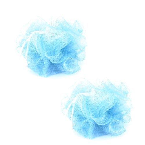 Water & Wood Foam Bubbles Puff Meshy Nylon Bath Shower Pouf Light Blue 2 Pcs DLM-B00E1GHMAK