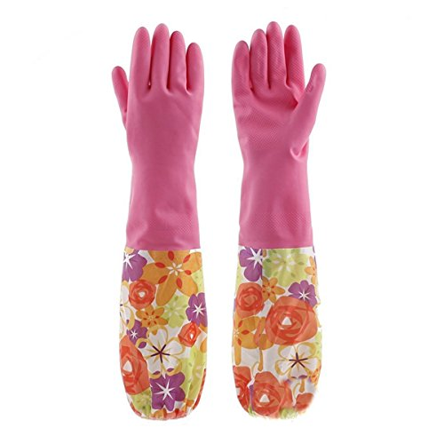 JingyangO Cute Floral Print Natural Latex Gloves Durable Waterproof Washing Gloves Lining Velvet Long Household Warm Gloves Dishwashing Cleaning Rubber Warmer Gloves for Home Garden Kitchen Laundry