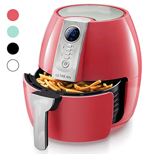 Ultrean Air Fryer, 4.2 Quart (4 Liter) Electric Hot Air Fryers Oven Oilless Cooker with LCD Digital Screen and Nonstick Frying Pot, ETL/UL Certified,1-Year Warranty,1500W (Red)