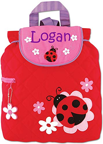 - Monogrammed Me Personalized Quilted Backpack, Red Ladybug, with Custom Name