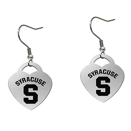Syracuse University Orange Satin Finish Large Stainless Steel Heart Charm Earrings - See Model for Size Reference by College Jewelry