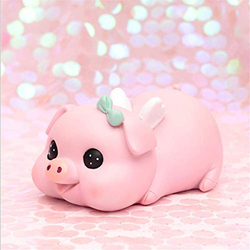 VANVENE Pink Pig Piggy Bank for Girls Boys, Money Bank Coin Bank for Kids , at Nursery or Home Décor Keepsake and Christmas Birthday Gift for Children, Resin Not Easy to be Broken (Bow-Knot)
