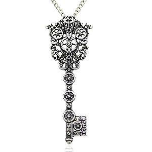 Q&Q Fashion Vintage Victorian Filigree Skeleton Key Watch Clock Gear Cog Steampunk Chain Pendant Necklace