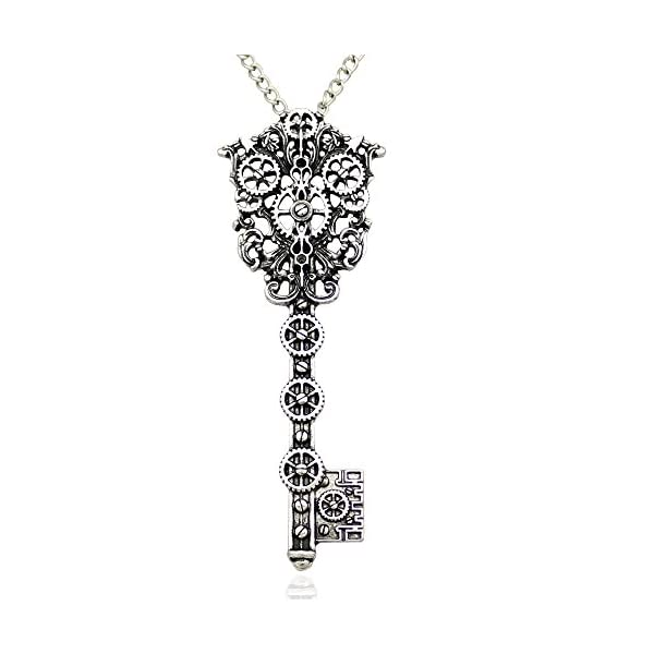 Q&Q Fashion Vintage Victorian Filigree Skeleton Key Watch Clock Gear Cog Steampunk Chain Pendant Necklace 3
