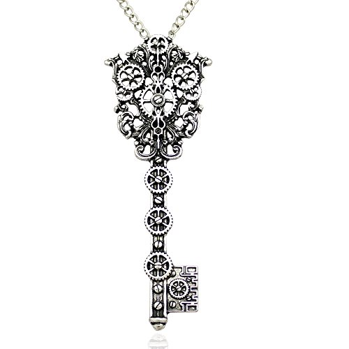 Silver Plated Vintage Victorian Filigree Skeleton Key Watch Clock Gear Cog Steampunk Chain Pendant Necklace (Filigree Clock)