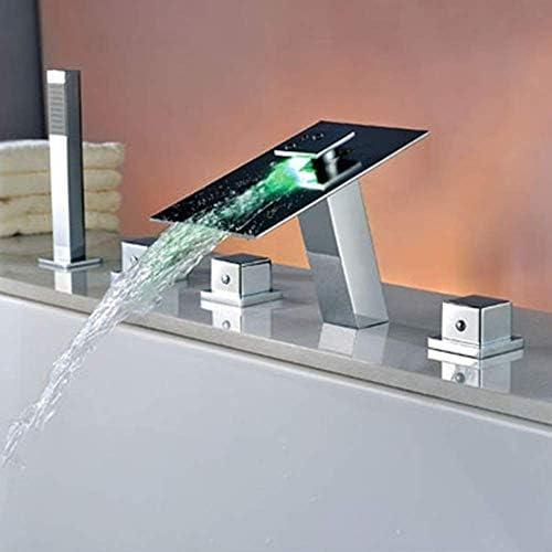 ZWH-ZWH 現代クロームバスタブ蛇口5ホールの銅ホットとコールドのLed照明滝の蛇口2機能プルハンドヘルドシャワーシステムセット実用的な美しいです シャワーセット