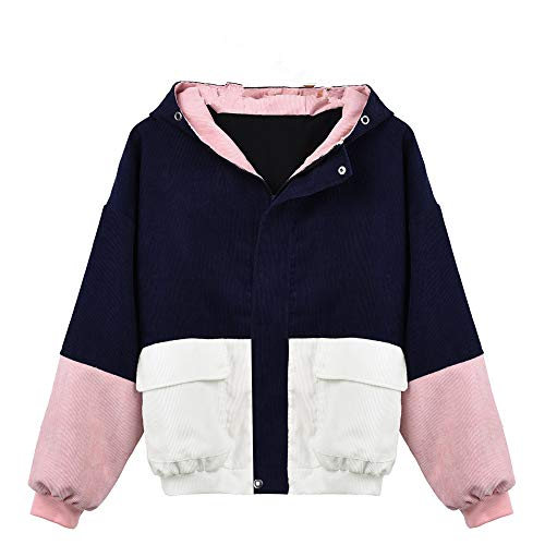 Moserian Coat for Women Corduroy Patchwork Oversize Jacket Windbreaker (Top Performance Baby Powder)