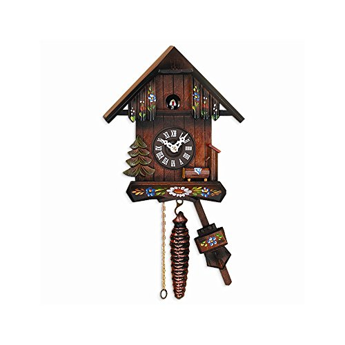 FB Jewels Solid Cottage Hand-Painted Flowers Cuckoo Clock