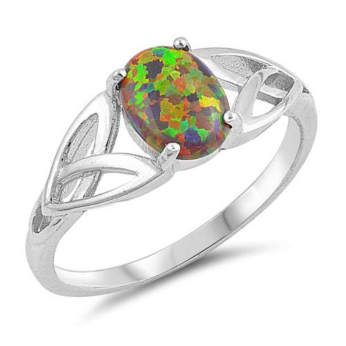 Glitzs Jewels 925 Sterling Silver Created Opal Ring Jewelry Gift for Women Black