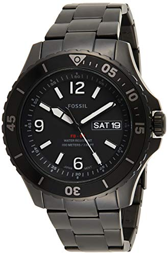 Fossil FB-02 Men's Black Dial Stainless Steel Analog Watch - FS5688