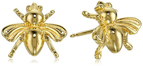 Sterling Silver Bumble Bee - 18k Yellow Gold Plated Sterling Silver Bumblebee Stud Earrings