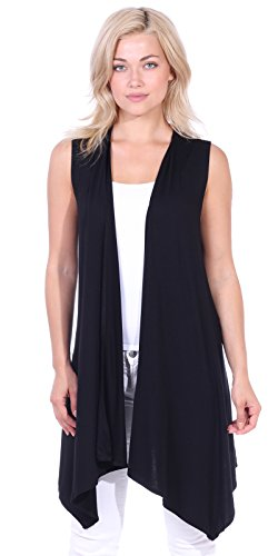 Popana Women's Casual Sleeveless Long Duster Cardigan Vest Plus Size Made in USA X-Large Black ()