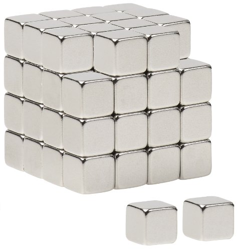 BYKES 64 Neodymium Super Strong Extremly Powerful Rare Earth Refrigerator Magnets 1/4 inch Cube N48 ()