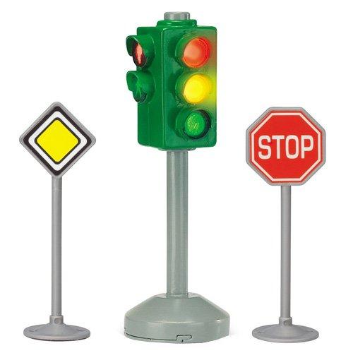 Dickie Toys 203341000 - City Light, batteriebetriebene Ampel mit zwei Verkehrszeichen, 12 cm