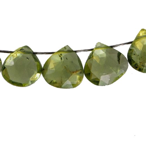 Peridot Briolettes Heart Genuine Gemstone A+ Facet Beads .016