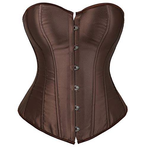 SWEETHA Women Corset Sexy Slim Burlesque Satin Body Shaper Strapless Overbust Corset and Bustier Coffee
