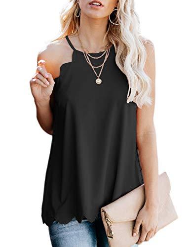 (CILKOO Casual Top for Women PleatedHalterCamiDress TankTopsSleevelessScallopedShirtsChiffonBlouses Black US16-18 X-Large )