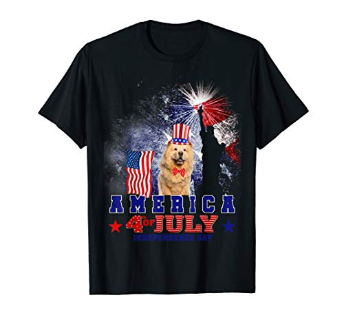 Chow Dog T-shirt - Chow Chow America Flag 4th Of July Dog Gift T-Shirt