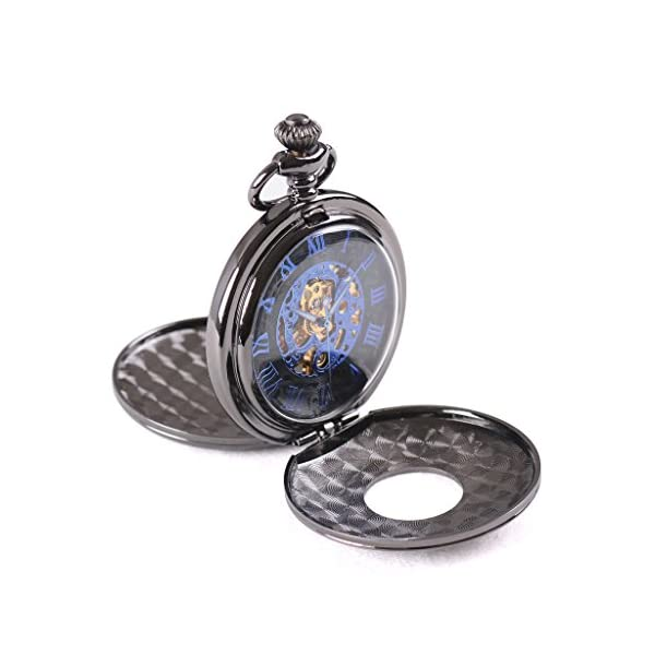 Wolfteeth Mechanical Pocket Watch Vintage Steampunk Designed Blue Roman Numerals Scale Double Openable Covers Classic Pocket Watch 3053 3