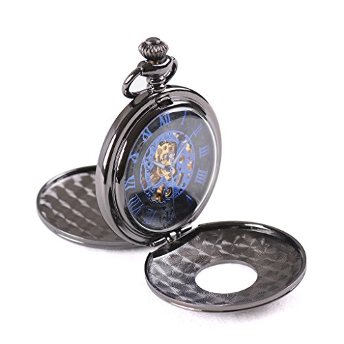 Wolfteeth Mechanical Pocket Watch Vintage Steampunk Designed Blue Roman Numerals Scale Double Openable Covers Black Dial Classic Pocket Watch 305301