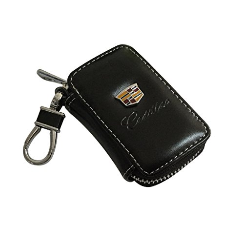cview-new-car-key-wallet-zipper-case-black-leather-car-house-office-key-chain-coin-holder-metal-hook