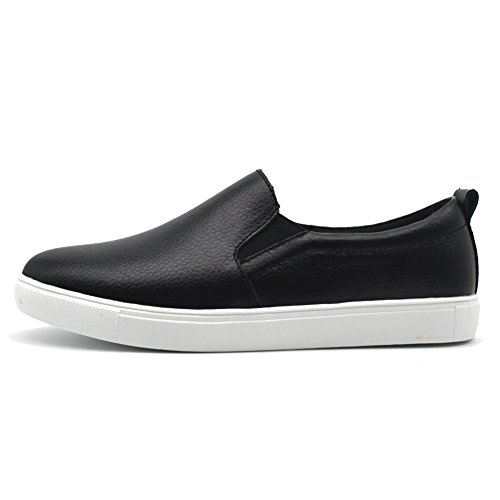 HKR Damen Slip On Fashion Sneakers Leopardenmuster Wildleder Loafers Komfort Wohnungen Schuhe Schwarz-Faux-Pelz gefüttert