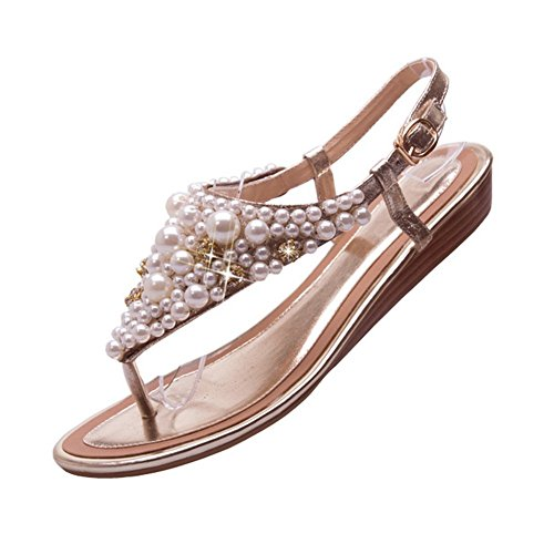 Material Sandalias 1to9 Bead Dorado Toepost Suave nbsp;mujer Estilo xw7I8q