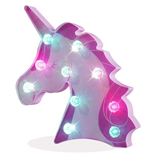 Light up Unicorn, LED Printed Sleeping Unicorn Marquee Night Light Wall Decor, Diamond Bulb, Battery Operated Table Lamps for Party Children Kids Bedroom Holiday Celebrations Christmas Gift-Colorful