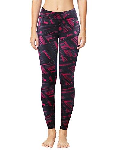(Baleaf Women's Printed Yoga Leggings Workout Active Pants Inner Pocket Ankle Length Capris Geometrical Black Size M )