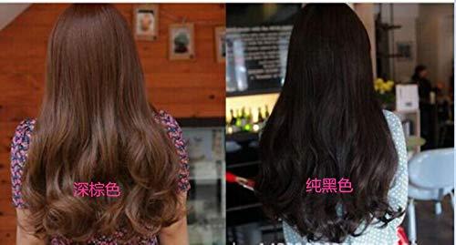 Womens Girls Fashion Wavy Curly Long Hair Human Full Wigs + Hairnet (Black)