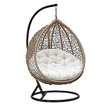 Virasat Furniture & Furnishing Outdoor/Indoor/Balcony/Garden/Patio/Hanging Swing Chair With Cushion & Hook/Color-Brown